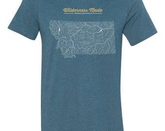 Wilderness Made Our Water Montana River Map Shirt
