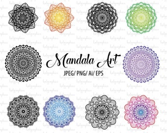 Mandala Art Vector Design, Five elements. Colourful and Black variation. Clipart/ Henna inspired art.Included EPS,PNG,JPEG,Ai files