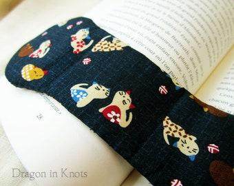 Kittens Book Weight - Navy Blue Japanese Fabric - neko cats - kawaii Asian themed dark blue weighted bookmark page holder