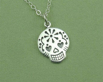 Sterling Silver Sugar Skull Necklace - Day of The Dead Jewelry, Pendant, Trendy Necklaces, Birthday Gift