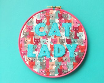Pink Cat Lady hoop art // hand embroidery // vegan friendly // vegan felt // cat lady quote