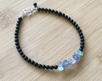 Rainbow Fluorite and Black Tourmaline Bracelet, Sterling Silver Bracelet, Gemstone Stacking Bracelet, Black Beaded Bracelet,