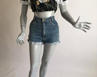 Summer Rain Peasant Blouse - Off shoulder, crop, frills and lace, black printed chiffon