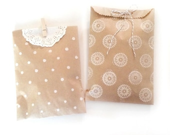 blank paper kraft bags - treat bag - wedding favor bags - flat paper bag - gift bags - kraft paper bags - brown paper bags - set of 20 bags