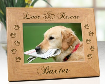 Dog Frame - Love Is A Rescue - Personalized With Name & Dog Paw Designs