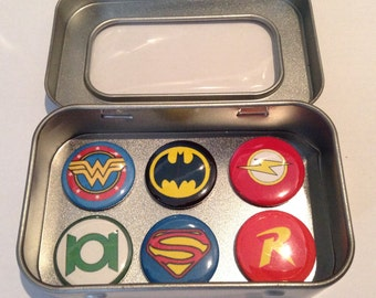 DC Comic Hero Fridge Magnets / Justice League / Superman / Batman, 2, 3 and 6 Magnet Sets, Gift for Him Man Cave Stocking Filler