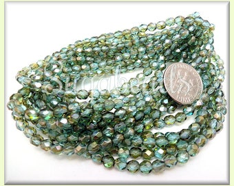 4mm Fire Polished Aqua Czech Glass Beads with Bronze Wash - Faceted Aqua Green Czech Beads CZN21