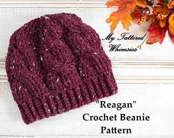 """CROCHET PATTERN, The """"Reagan"""" Crochet Cabled Beanie Pattern, Crochet Cables, Crochet Hat Pattern, Trendy Women's Hat, Intermediate Crochet"""