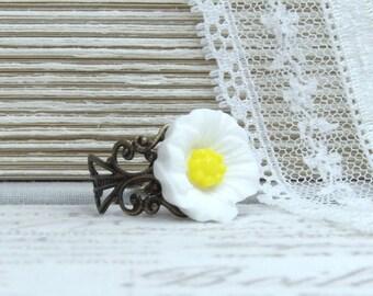 White Poppy Ring Woodland Ring White Flower Ring Poppy Jewelry Adjustable Ring Wildflower Ring