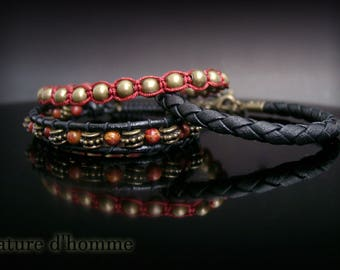 A trio of bracelets and woven leather Ref: BN-406