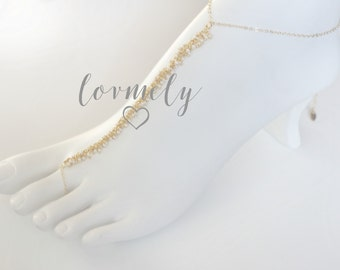 LOVMELY gold barefoot sandal /anklet 22k gold wire wrapped turquoise, coral, or white beads / boho chic