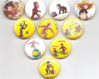 Curious George Favorite Monkey  set of 10 Pins Button Badge Pinback