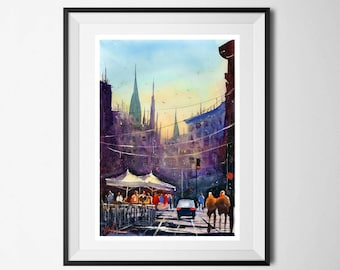 Fine Art Print Town Composition Watercolour Painting Signed Cityscape Skyline Scene Giclee High Quality Town Impressionist Landscape City A3