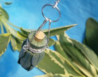 Sage Smudge Bottle Necklace with Silver Chains