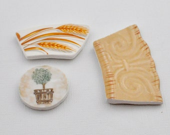 Broken China Mosaic Tiles - Focal Tiles -Recycled Plates - Topiary - Wheat - Swirls - Set of 3