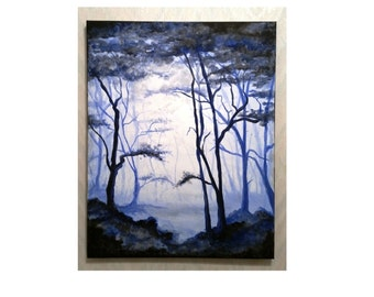 Woodland Landscape Acrylic Painting, Forest Blue, Fantasy Modern Art, Original Painting, One of a Kind, Hand Painted