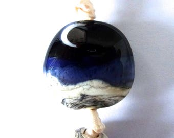 Handmade Lampwork Focal Bead Blue Moon