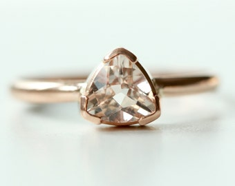 Morganite Ring in Recycled 14k Rose Gold - Trillion Morganite Gemstone - Engagement Ring - Diamond Alternative Engagement