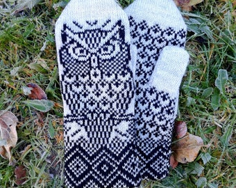 Owl mittens, winter mittens, knit owl gloves, winter accessory owl, knit mittens for women