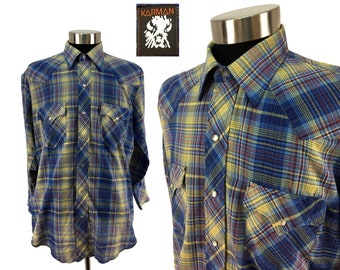 Vintage 80s Plaid Pearl Snap-Down Pocket Shirt by Karman LARGE - XL // Shimmering Thread // Western // Country // Cowboy // Rockabilly