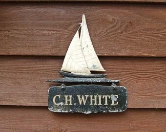 Cast Sailboat Sigh, Vintage Nautical Sign, Cast Aluminum Sailboat, Maritime Decor, Beach House Art, Name Sign