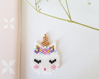 Unicorn woven Miyuki beads brooch