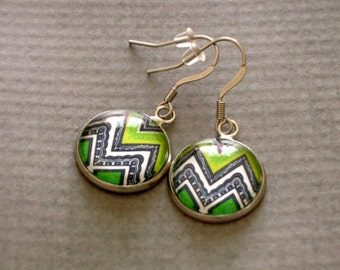 Green Chevron Glass Earrings : Boho Jewelry