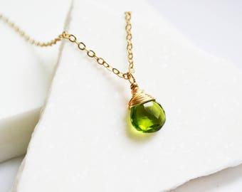 Teardrop Necklace, Gemstone Necklace, Gold Teardrop necklace, Dainty Necklace, Dainty Gold Necklace, Simple Gemstone Necklace, Necklaces.
