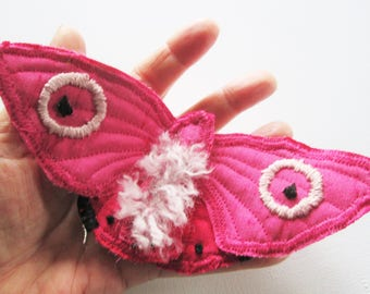pink brooch , textile moth pin, unique jewellery