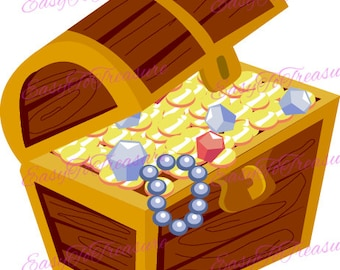 Digital Download Clipart –  Treasure Chest with Jewels JPEG and PNG files
