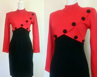 Vintage 80s dress red and black colorblock fitted dress size S/M