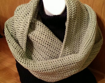 Crochet Infinity Scarf - Lacy Infinity Scarf - Infinity Cowl - Sage Green - Circle Scarf - Ready to Ship