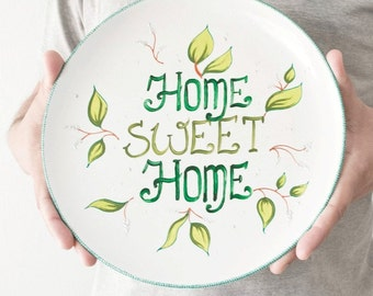 Large decorative plate Home Sweet Home - Easter gift - Painted plate - Living room ideas - Wall decorations - Wall decor - Wall hangings