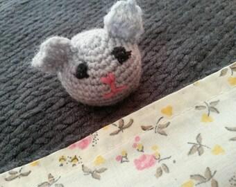Handmade / flat baby wool and cotton blanket with little crochet bear head. Customizable
