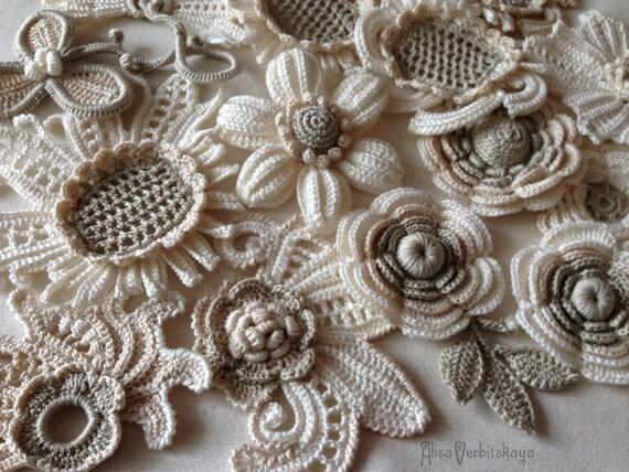 collier de fleur dentelle irlandaise fleur 10pcs crochet fleur. Black Bedroom Furniture Sets. Home Design Ideas