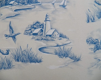Vintage Ducks  Gift Wrap, Country Scene Wrapping paper, Sailboat Gift Wrap, All Occasion, 1960s Gift Wrap Blue Gift Wrap, River Boats Farm