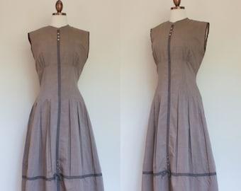 vintage 1950s mauve drop waist dress / 50s light brown tan sleeveless pleated dress / S