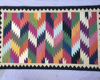 3x5 Colourful Black Border  woven Cotton Rug- Fast International Shipping