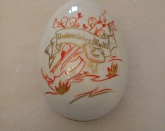 """Easter egg 13 x 8cm made around 1900 """"the dear mother"""""""
