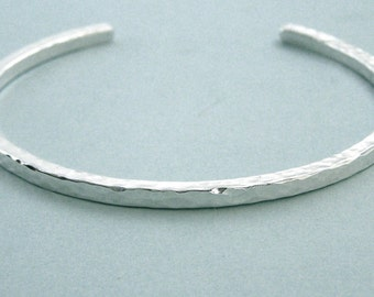 Stacking Cuff Bracelet - Hammered Sterling Silver