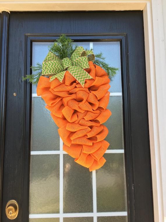Easter Wreath Carrot Wreath Burlap Easter Carrot Door
