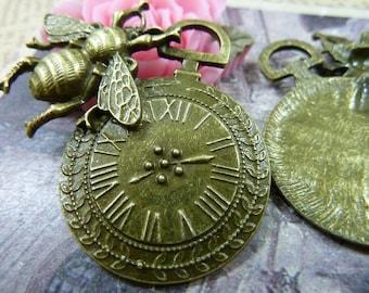 a bronze watch steampunk 41x42mm bee pendant