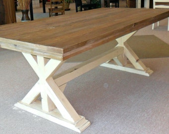 Table, Dining Table, Reclaimed Wood, Trestle Table, Rustic, Handmade VMW1070, 1071, 1072