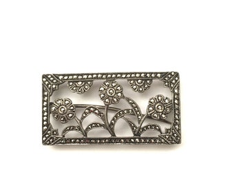 Antique Art Deco Sterling and Marcasite Brooch Pin