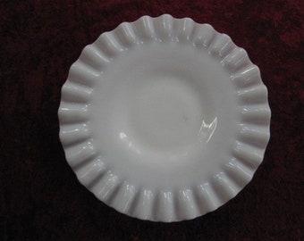 Milk Glass. Ruffled White Glass Dish