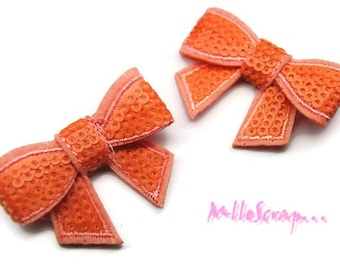 Set of 2 bows fabric sequins scrapbooking salmon (ref.310). *.