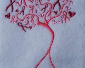 Cancer Ribbon Tree Embroidery Design