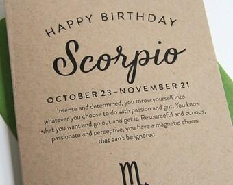 Letterpress Astrology Birthday Card - Scorpio