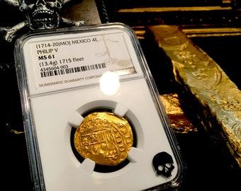 """Mexico 4 Escudos """"1715 Plate Fleet Shipwreck"""" NGC 61 Pirate Gold Treasure Coin Doubloon Cob Shipwreck"""