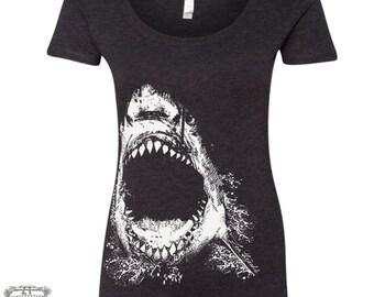 Womens SHARK TriBlend Scoop Neck Tee - T Shirt S M L XL XXL (+ Color Options)